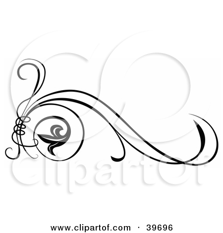 Clipart Illustration of a Tendril Tying Scrolls Together, With.