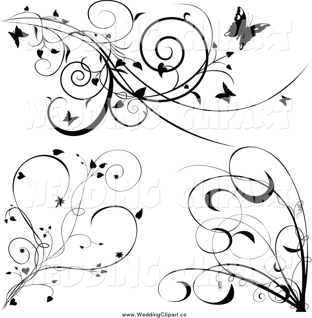 Vector Marriage Clipart of a Black and White Vines with.