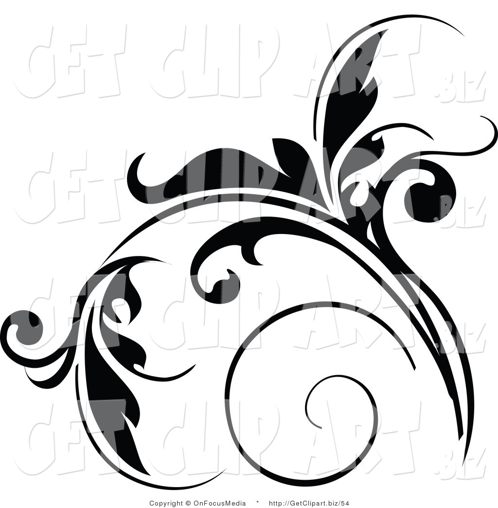 Clip Art of a Floral Design Element in Black, with Tendrils.