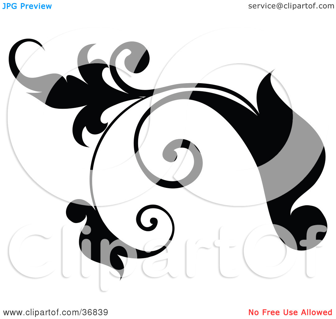 Clipart Illustration of a Black Plant Design Element Scroll With.