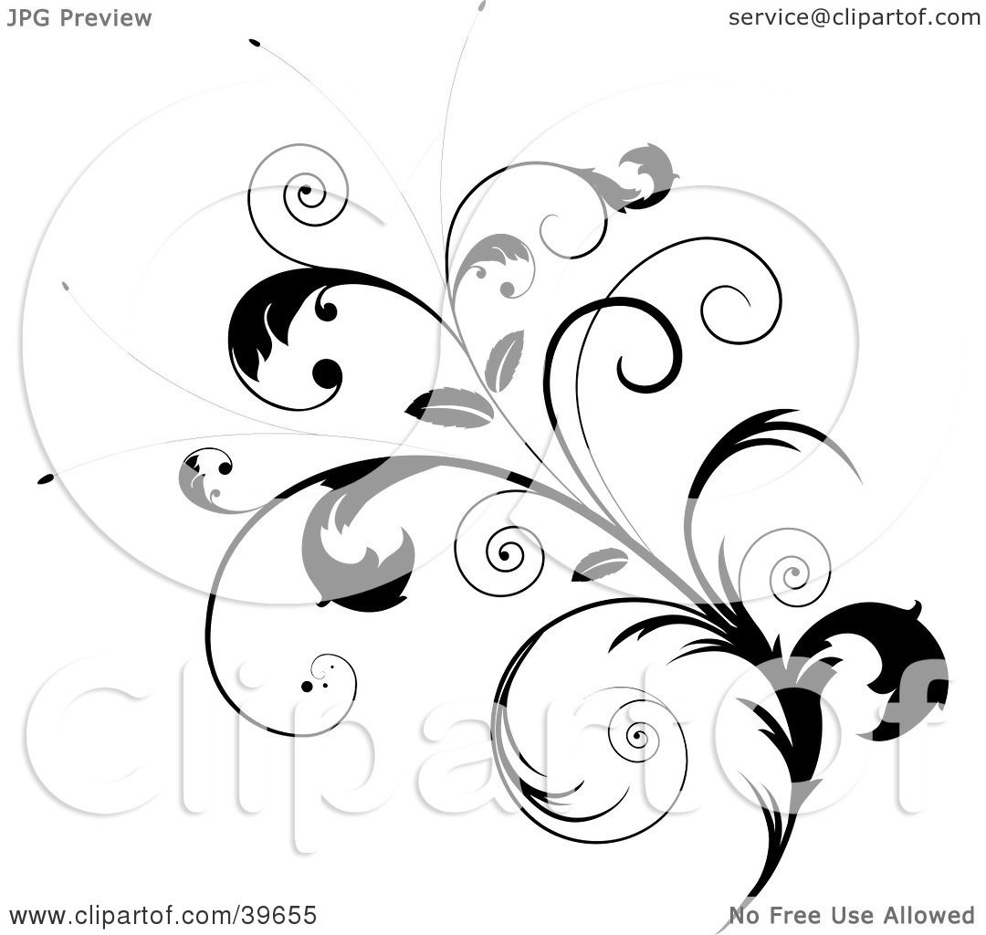 Clipart Illustration of an Ornate Black Leafy Plant With Curly.