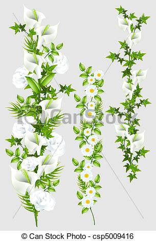 Stock Illustration of Different floral tendrils. File. csp5009416.