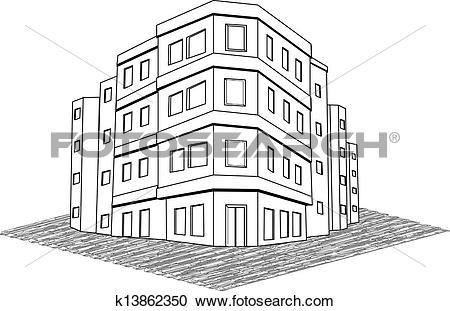 Clipart of Vector modern office building, tenement real estate.