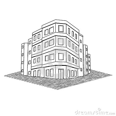 Modern Office Building, Tenement Real Estate Stock Images.