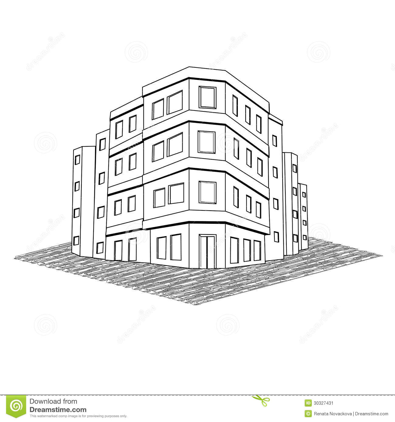 Modern Office Building, Tenement Real Estate Stock Image.