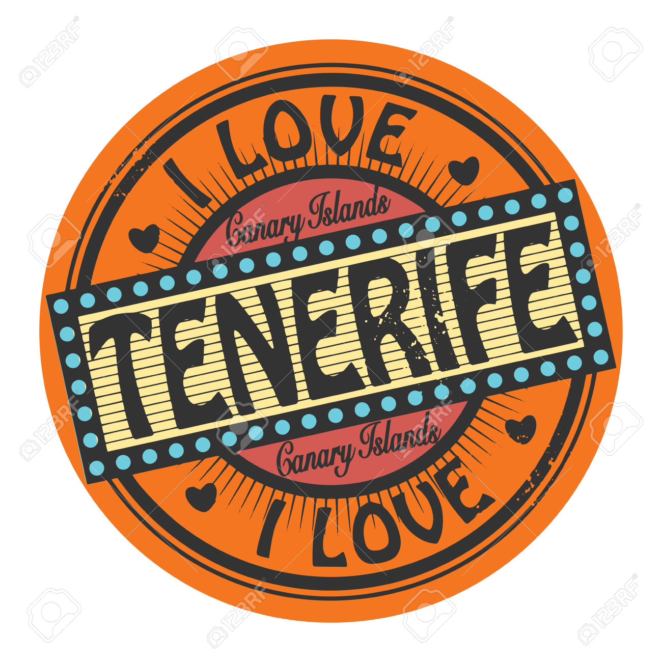 Grunge Color Stamp Or Label With Text I Love Tenerife Inside.