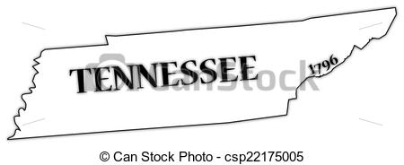 Vector Clipart of Tennessee State and Date.