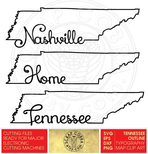 Tennessee Map Outline Typography Clipart SVG eps by.