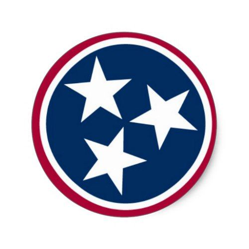 Tennessee State Flag Classic Round Sticker.
