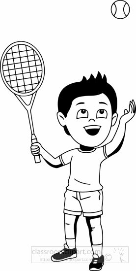 Playing Tennis Clipart Black And White.