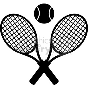 crossed racket and tennis ball black silhouette vector illustration  isolated on white clipart. Royalty.