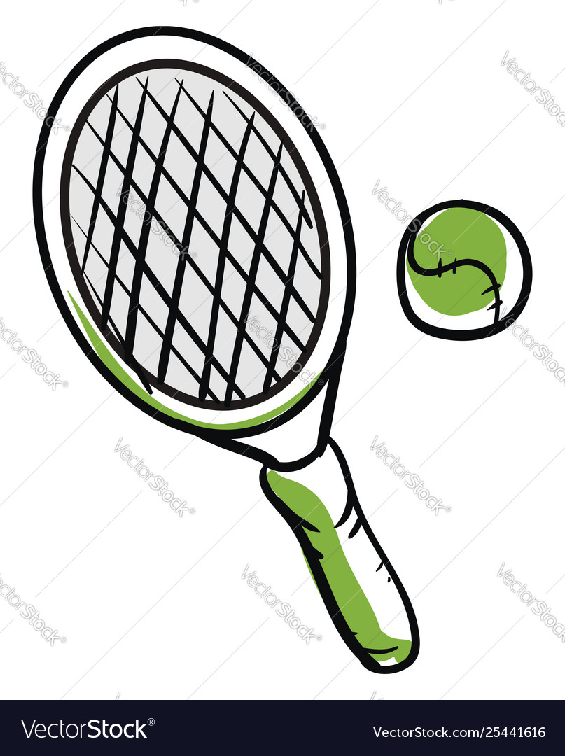 Drawing tennis ball and racket or color.
