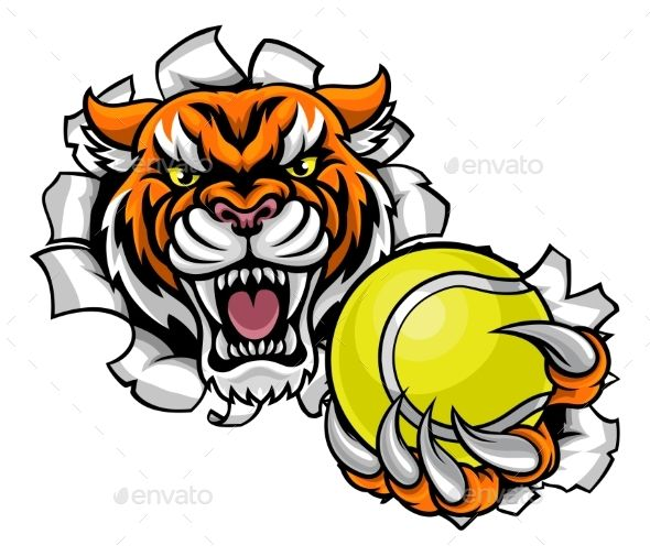 Tiger Holding Tennis Ball Breaking Background.