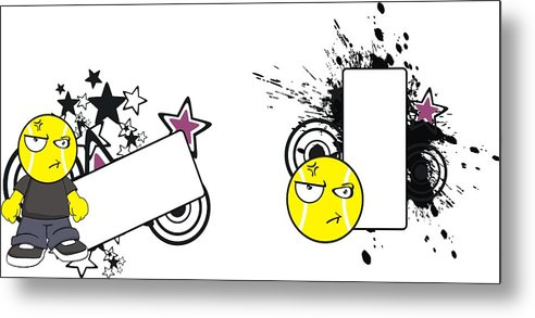Cute Angry Tennis Ball Head Kid Cartoon Copy Space Set Metal Print.