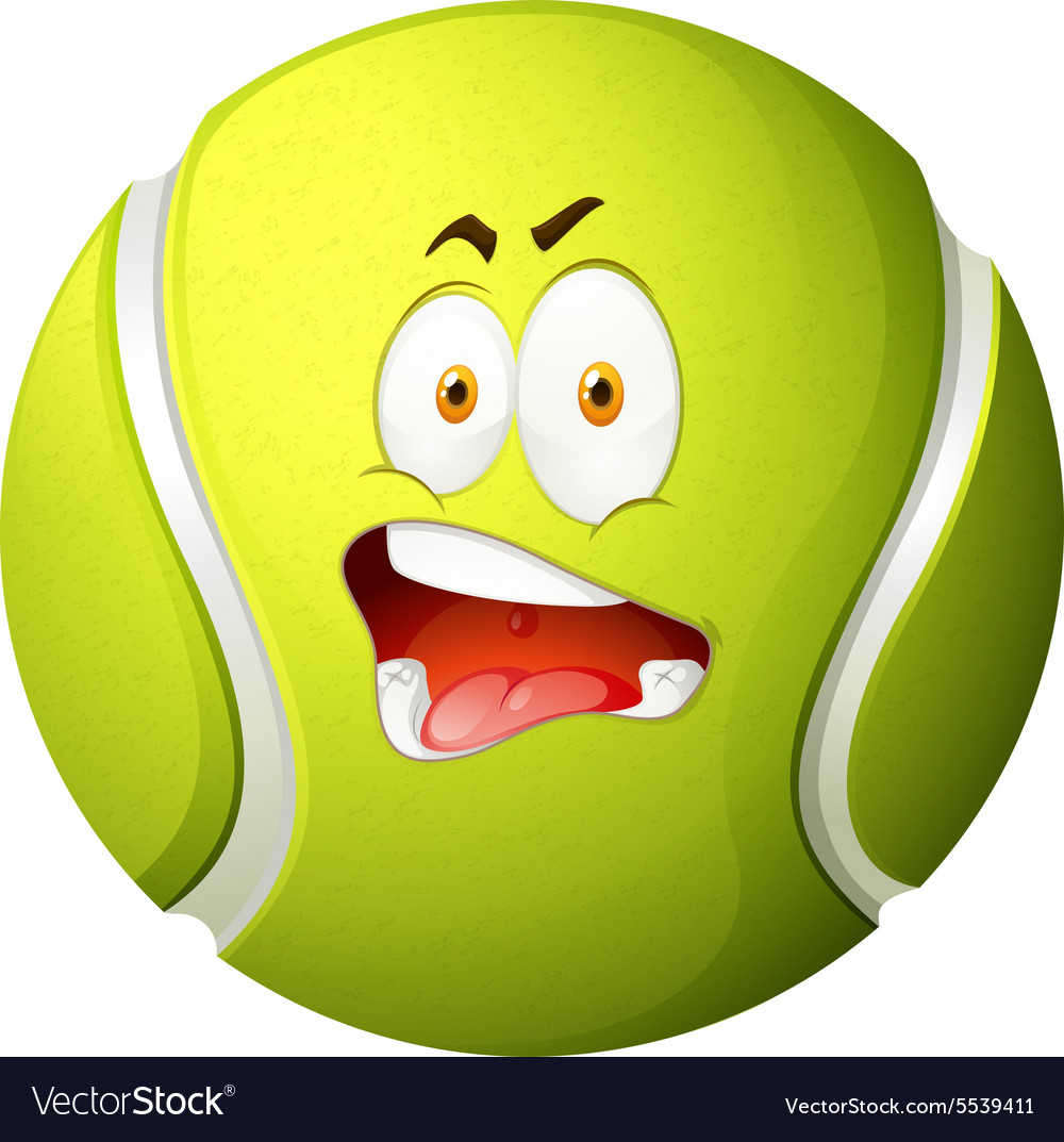 Tennis ball with silly face.