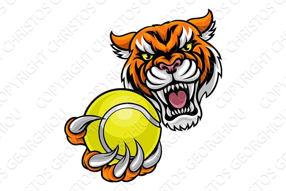 Tiger Holding Tennis Ball Mascot.