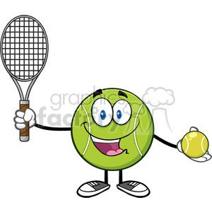 tennis ball character cartoon clipart #10
