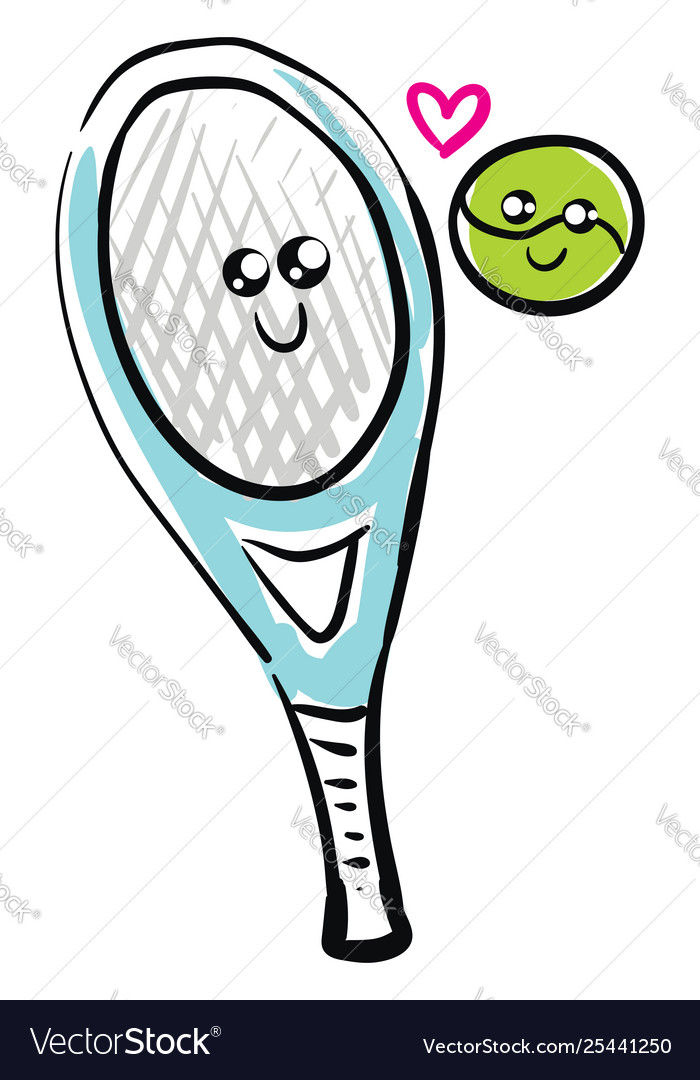 Clipart tennis ball and racket in love.