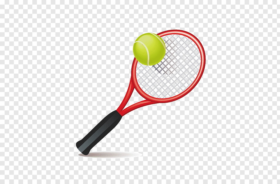 Red and black tennis racket and green ball illustration.
