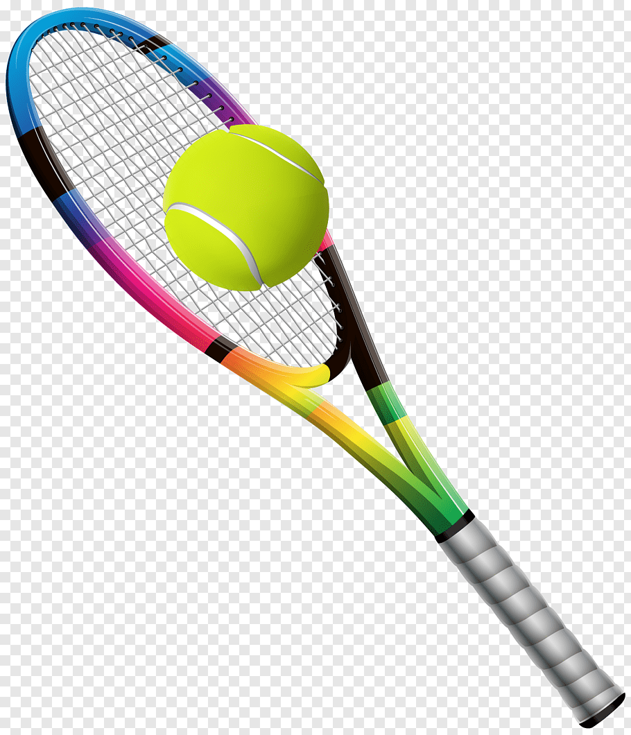 Green, black, and blue tennis racket with tennis ball.