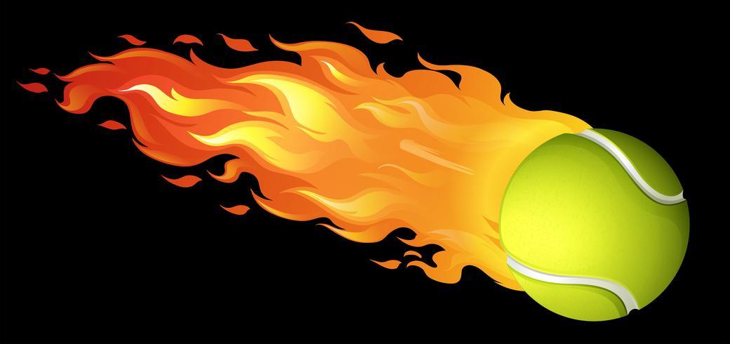 Flaming tennis ball on black.