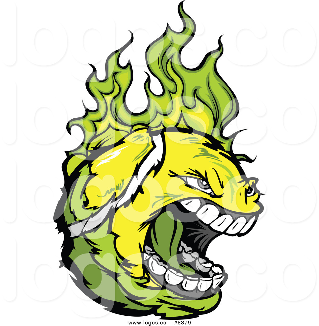 Royalty Free Clip Art Vector Logo of a Screaming Tennis Ball.