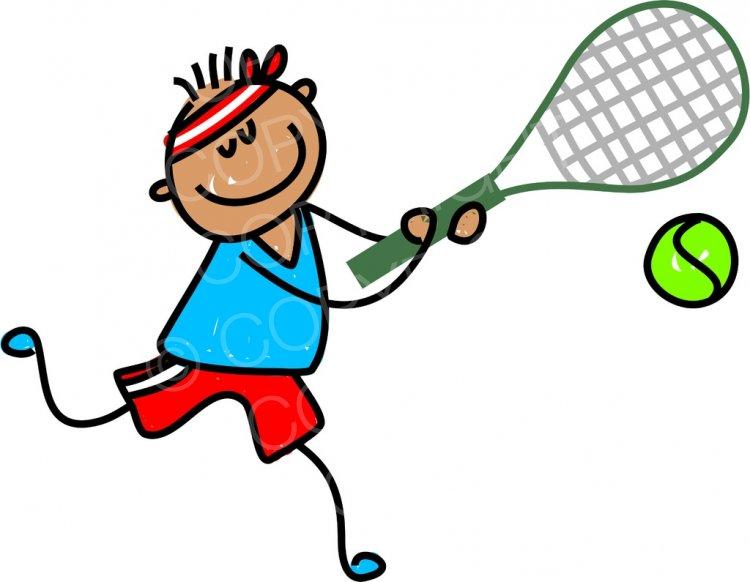Happy Cartoon Tennis Boy Toddler Art Prawny Clip Art.