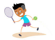Boy Playing Tennis Clipart.