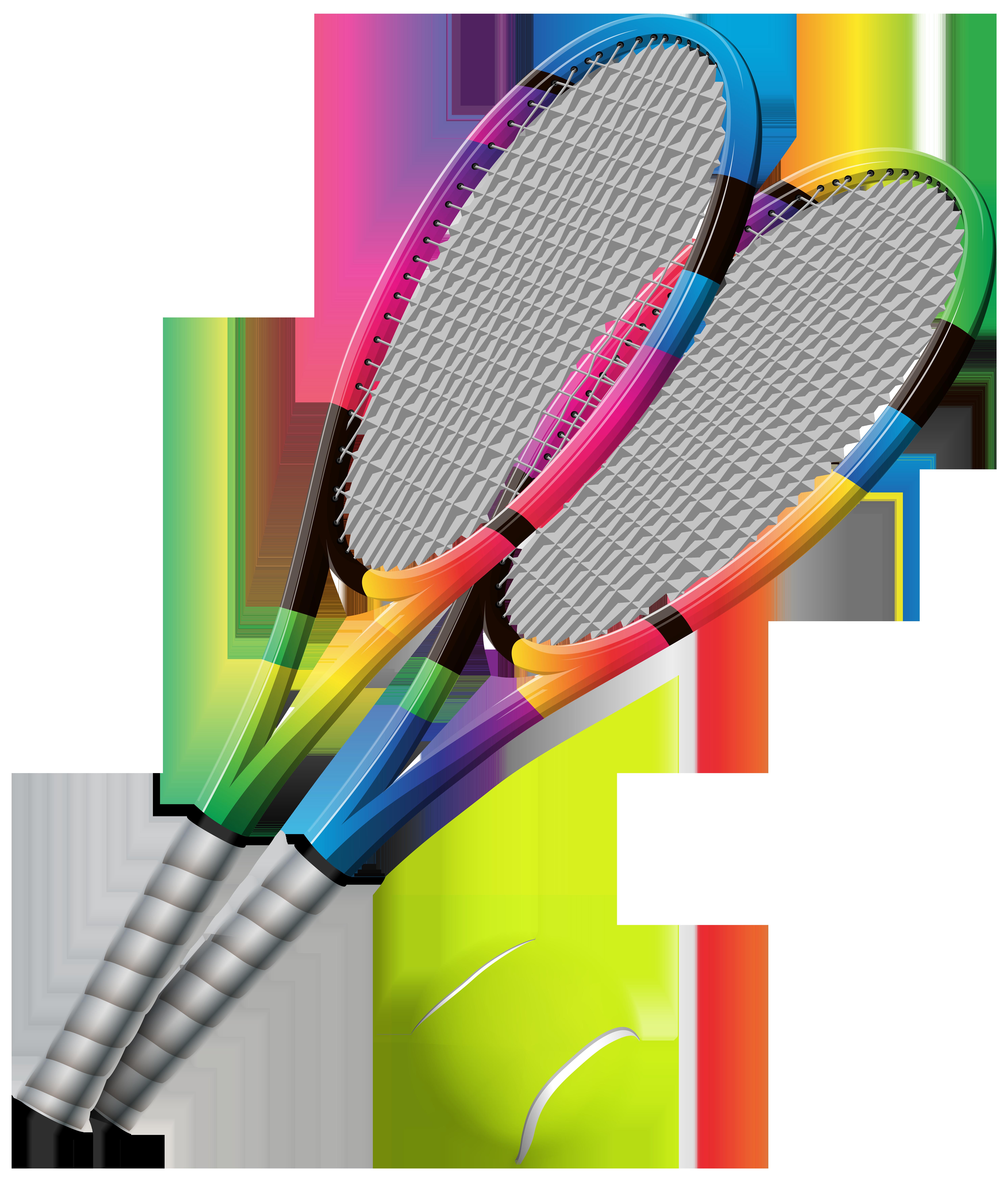 Tennis Rackets and Ball Transparent PNG Clip Art.