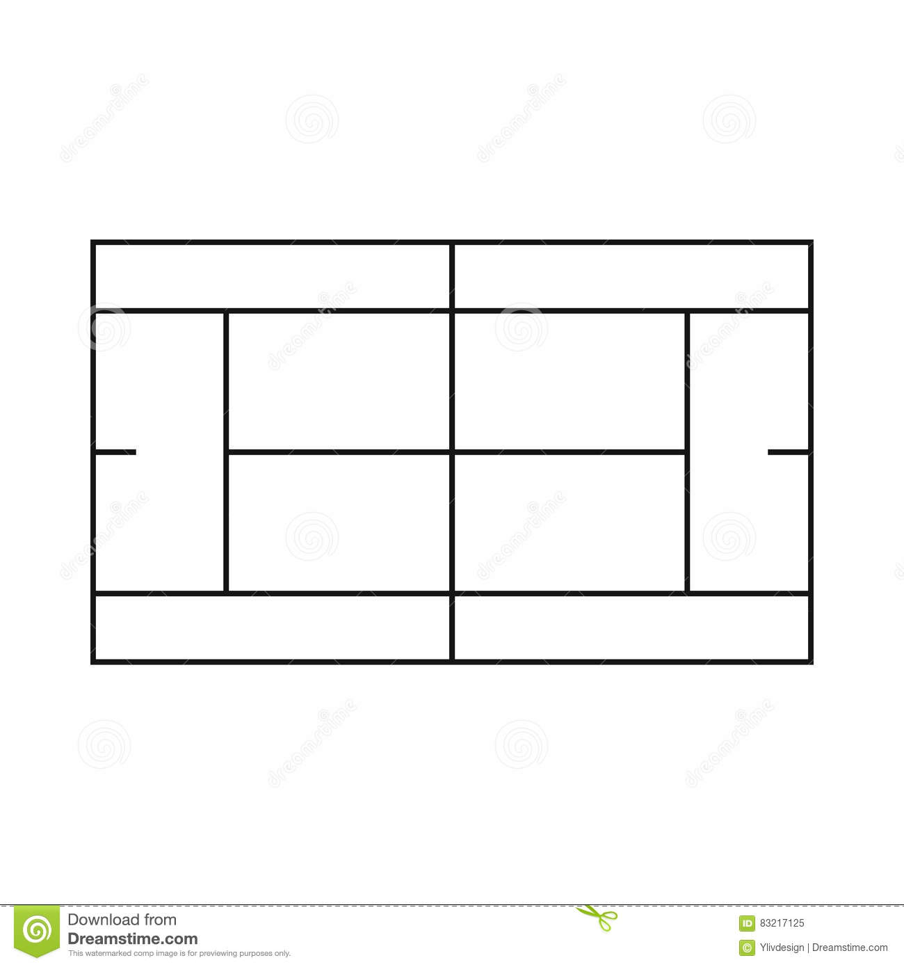 Tennis Court Clipart Black And White.