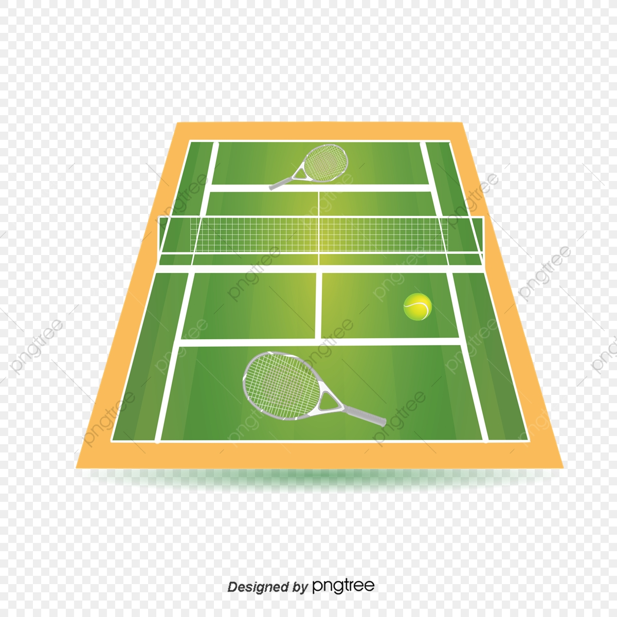 Illustration Of Green Tennis Court, Illustration, Popular.