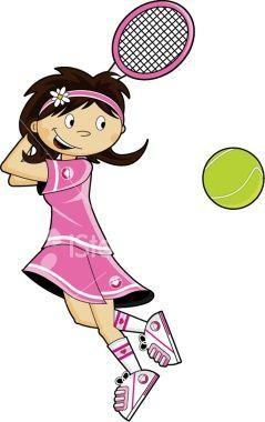 Tennis Racket Clipart Pink Girl.