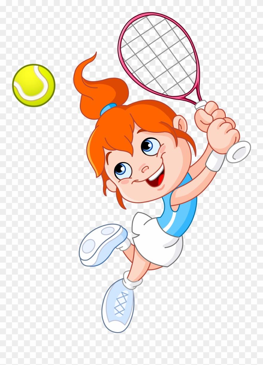 Tennis Girl Racket Cartoon.