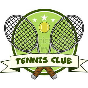 crossed racket and tennis ball logo design label vector illustration  isolated on white and text tennis club clipart. Royalty.