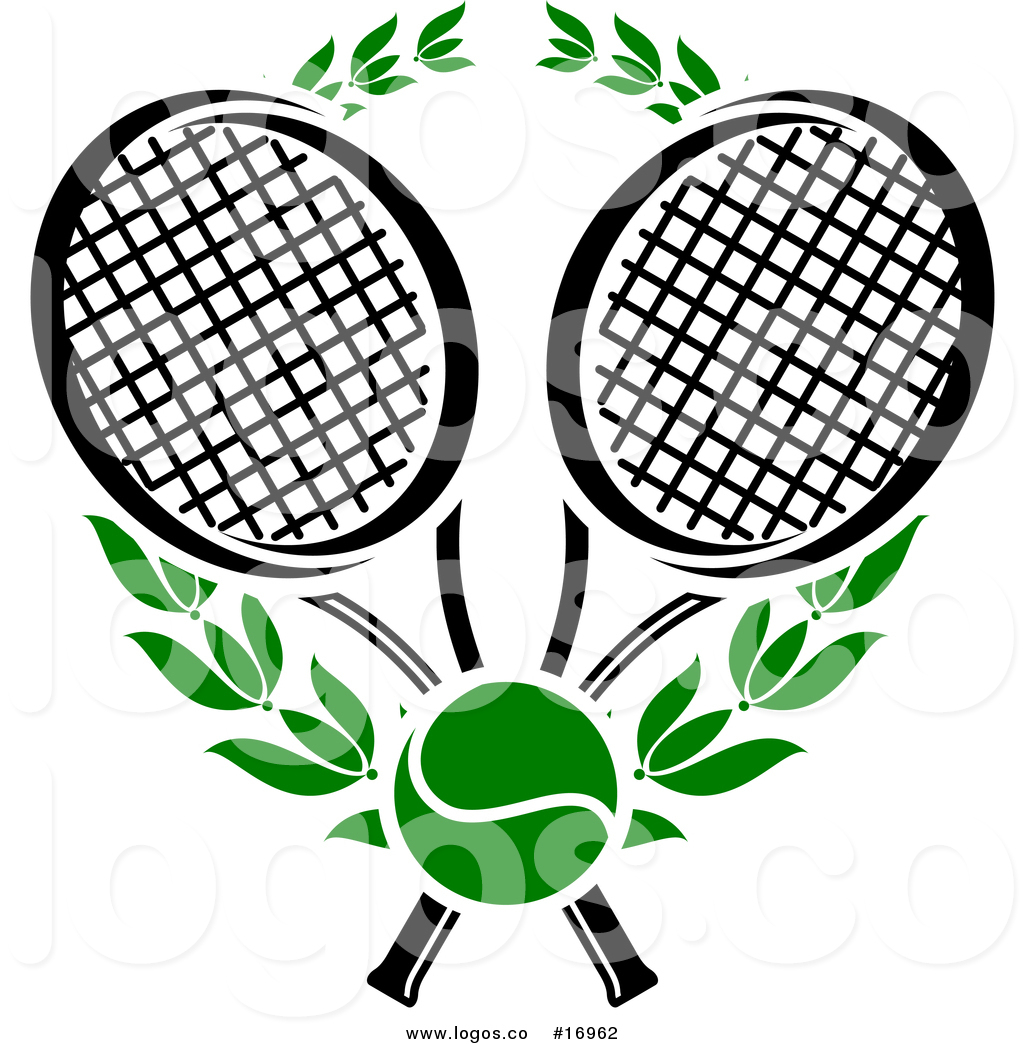 Royalty Free Vector Logo of Tennis Rackets, Ball and Green.