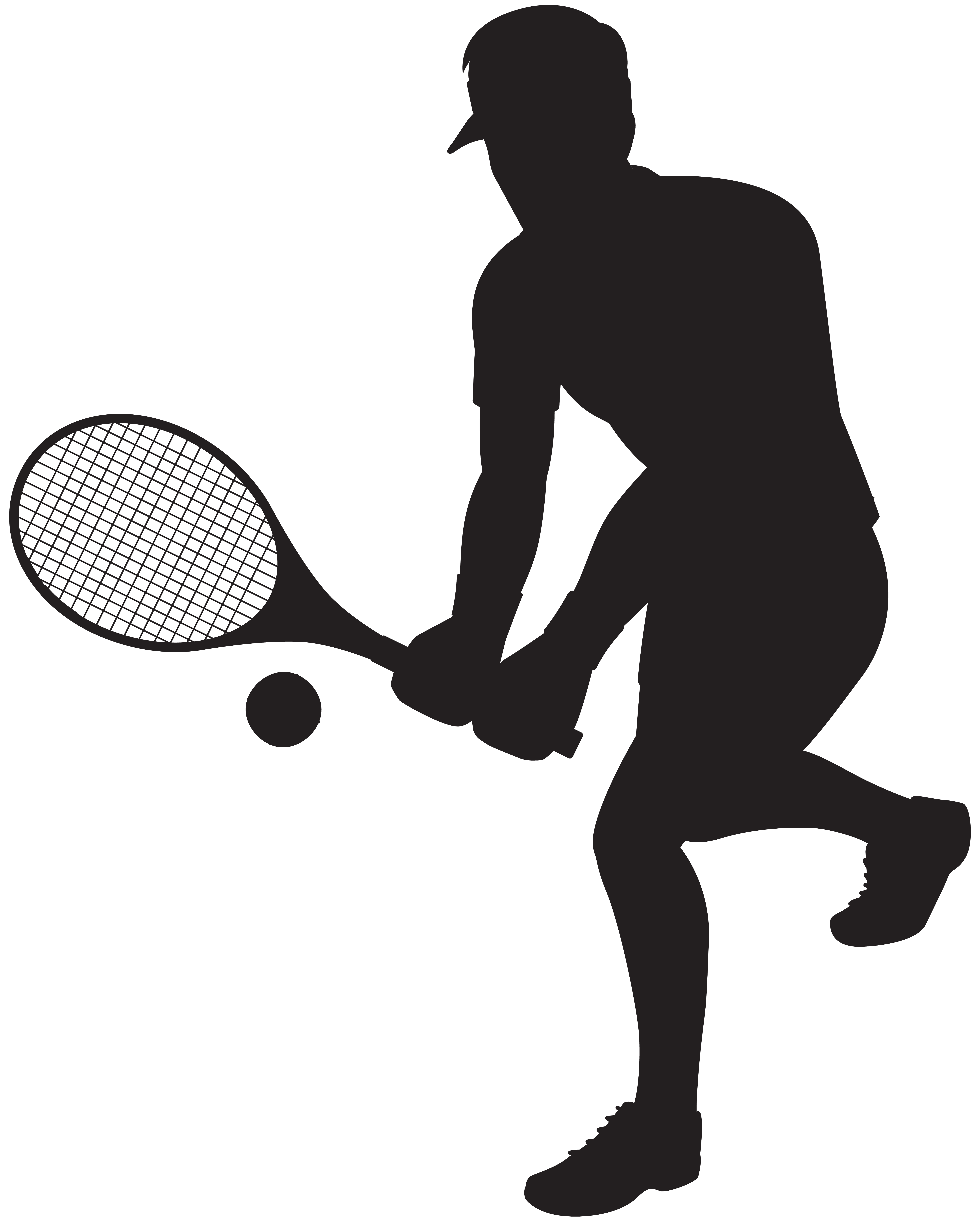 Tennis Player Silhouette Clip Art Image.