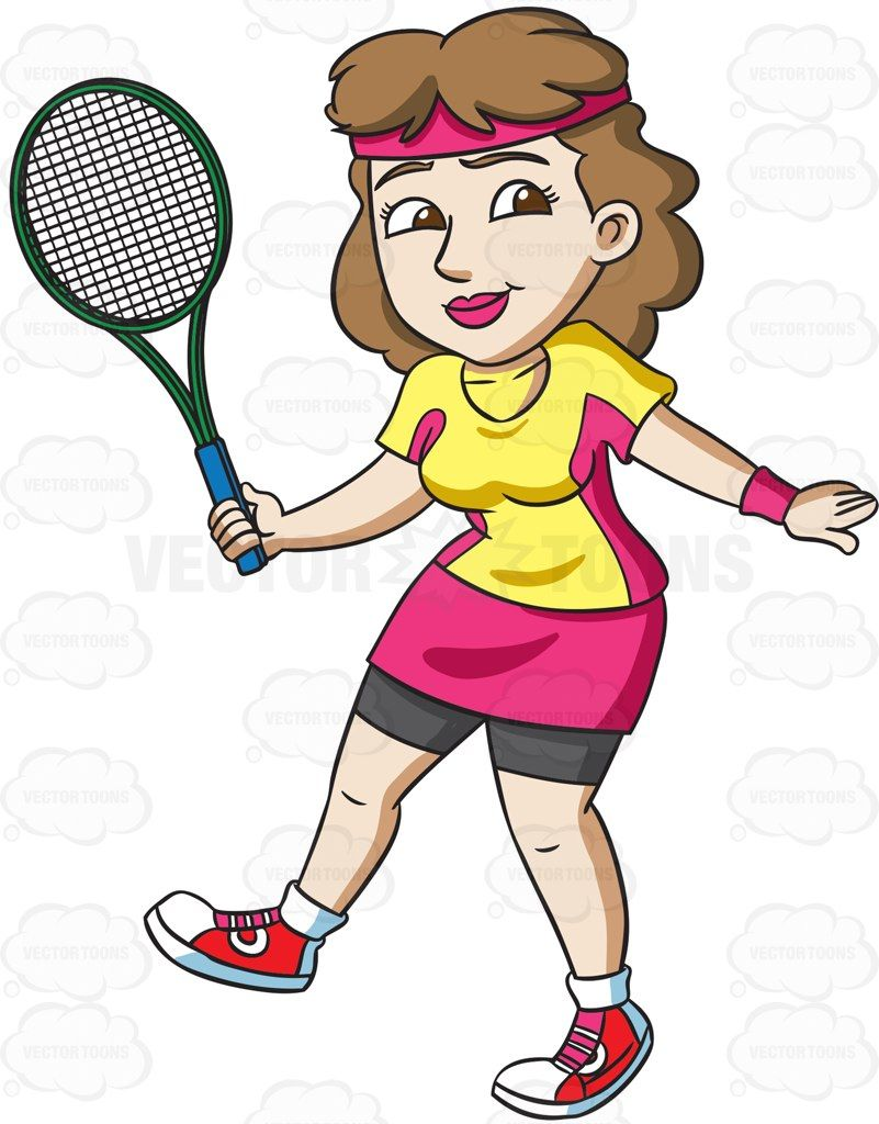 A female tennis player practices her swing #cartoon #clipart.