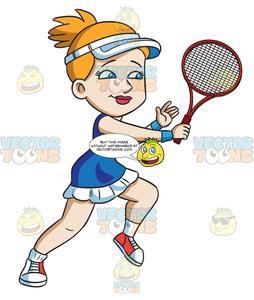 A Female Tennis Player Hits A Backhand Winner.