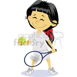 cartoon girl tennis player clip art image clipart. Royalty.