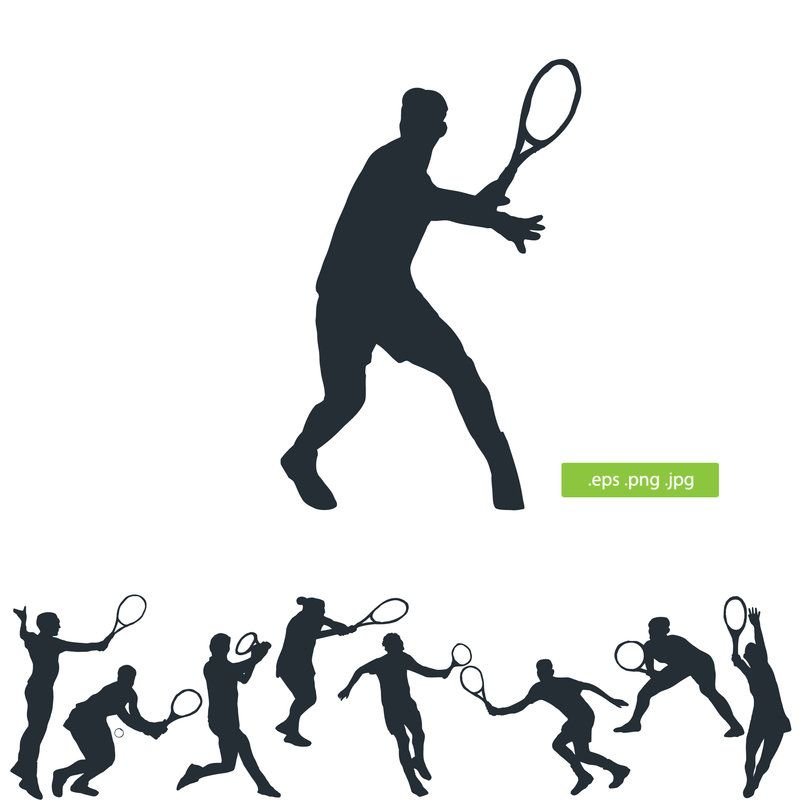 Tennis player vector silhouette by silhouettes.