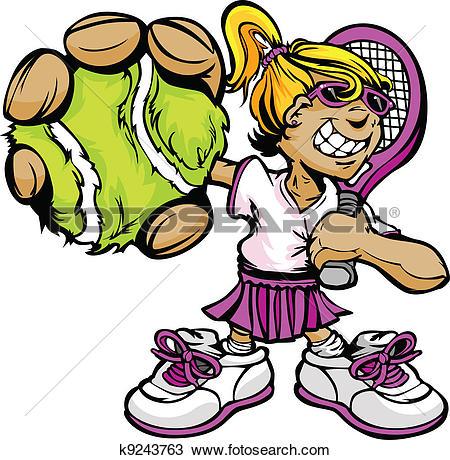 Stock Illustration of Girl holding tennis racket u17246818.
