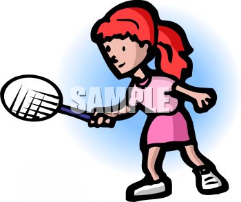 Girl Playing Tennis Clipart Picture.