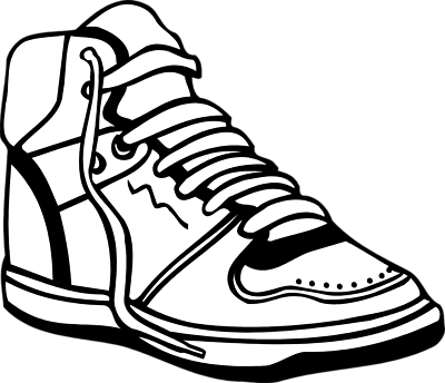 Sneaker tennis shoes clipart black and white free.