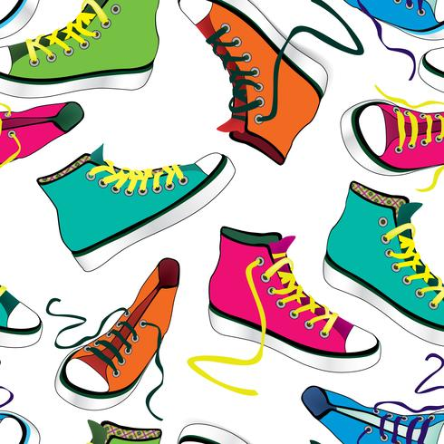Sneakers tile background. Different sport shoes seamless.