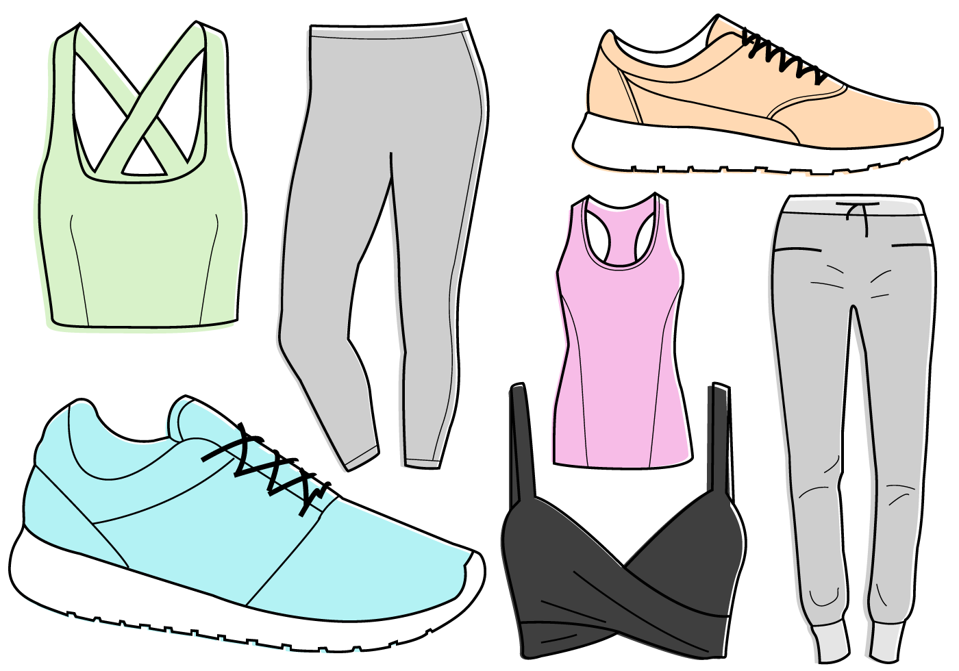 Workout Clothes Free Vector Art.