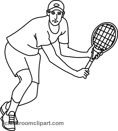 Tennis Black And White Clipart.