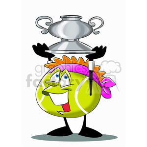 terry the tennis ball cartoon character holding a trophy clipart.  Royalty.