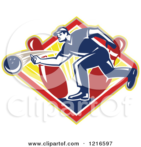 Clipart of a Retro Man Ten Pin Bowling in a Triangle.