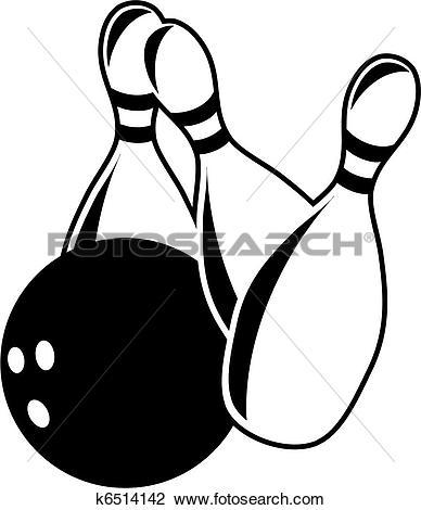 Clip Art of Ten Pin Bowling k6514142.