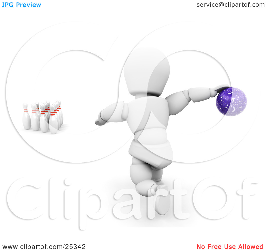 Clipart Illustration of a White Character About To Release A.